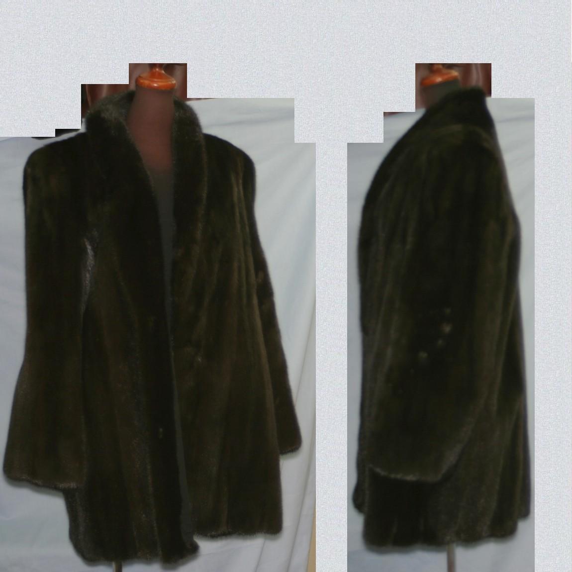 【中古】本物綺麗ブラックグラマー女性用ミンクの焦げ茶色コートサイズ表記12着丈80センチ