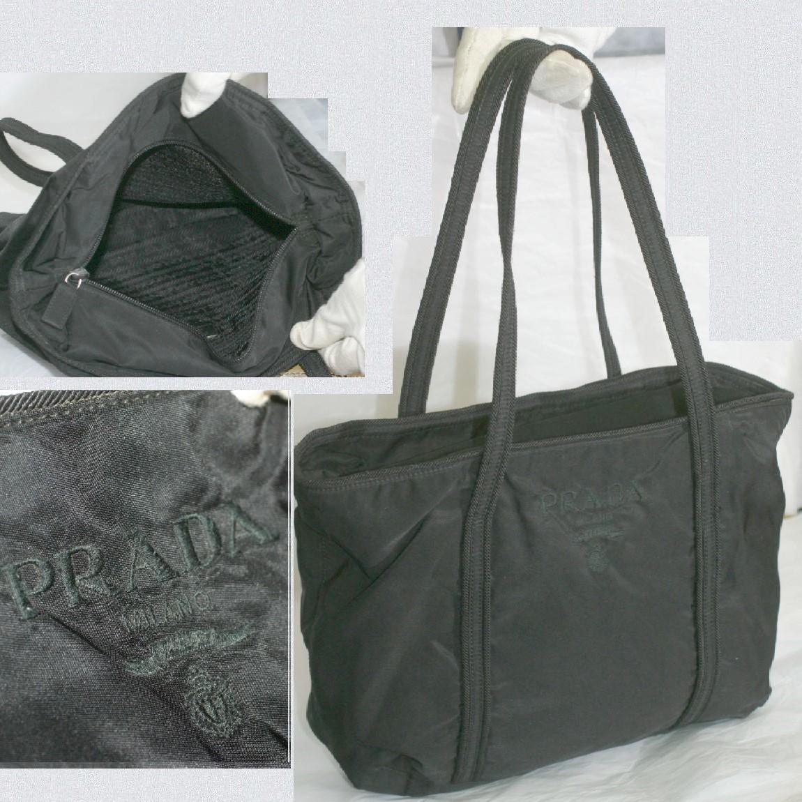 【中古】本物綺麗プラダ女性用ナイロン素材軽いトートバッグ サイズW27H22,5D7,5cm正面にロゴマークが刺繍してます