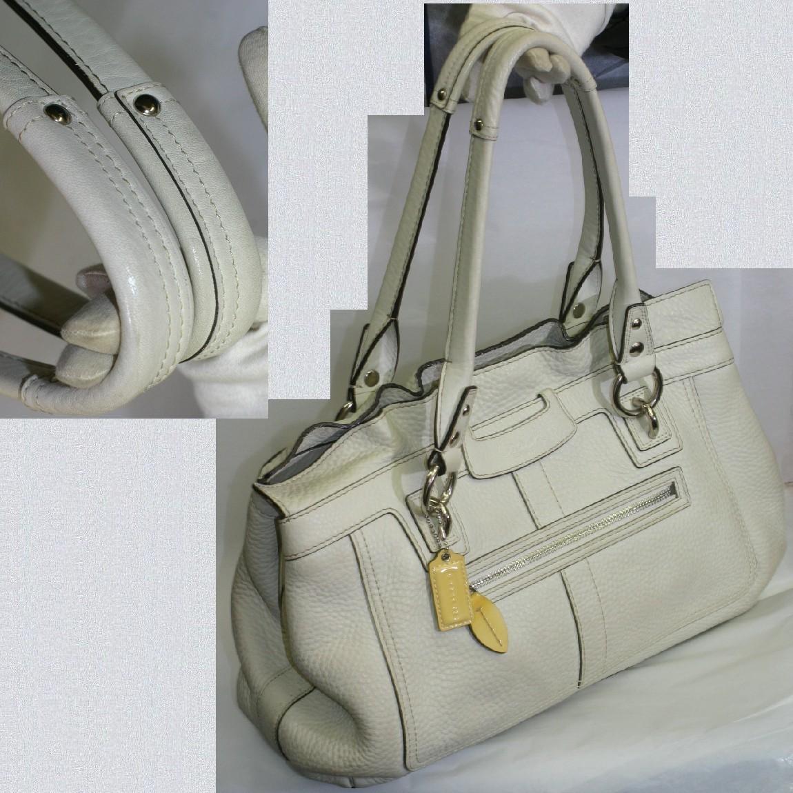 【中古】本物美品コーチ女性用白いボコボコした革素材ペネロピレザートートバッグ13160 サイズW36H24D10,5cm