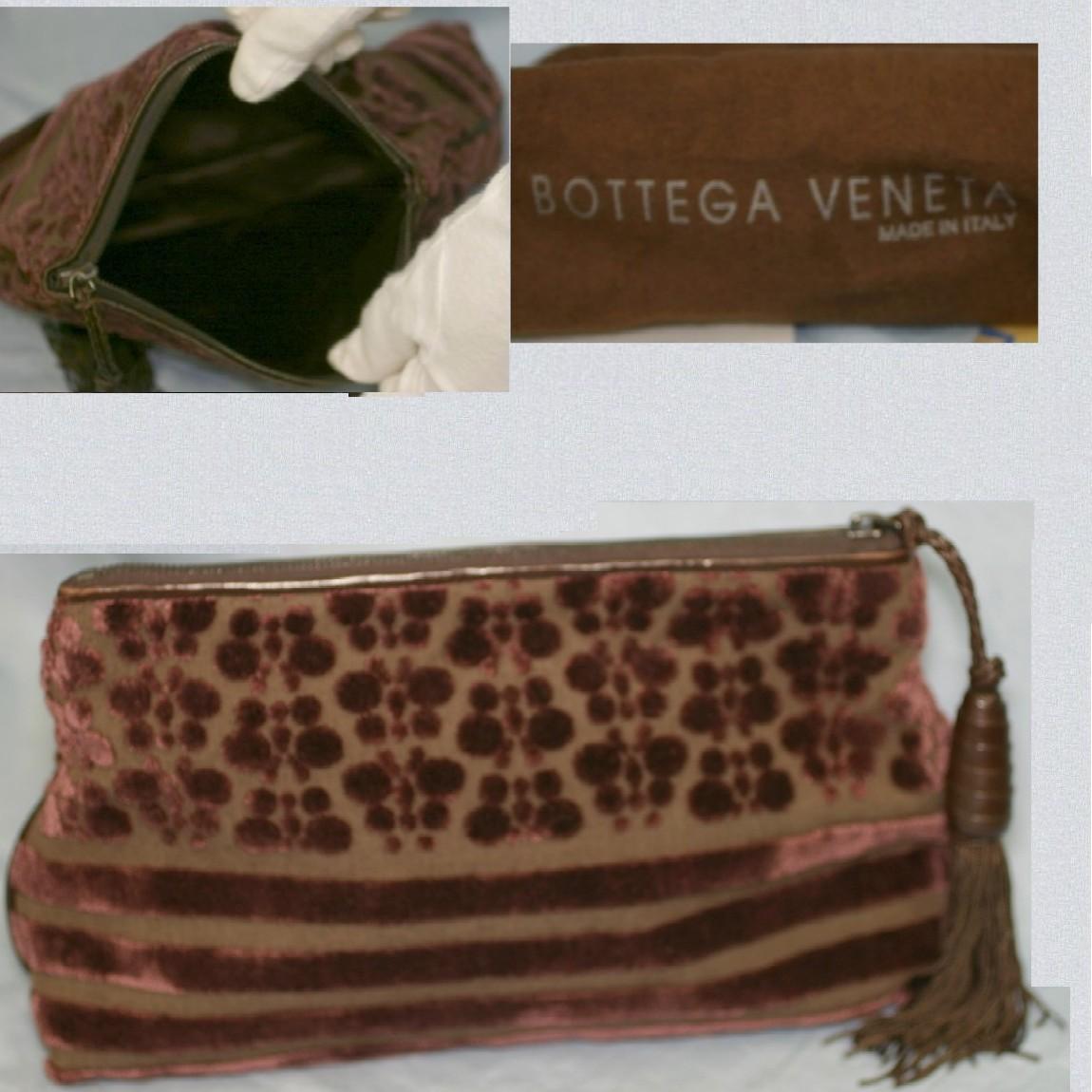 【中古】本物抜群に綺麗ボッテガヴェネタ女性用台形23センチ焦げ茶可愛いパッチワークが全体に付いたポーチ