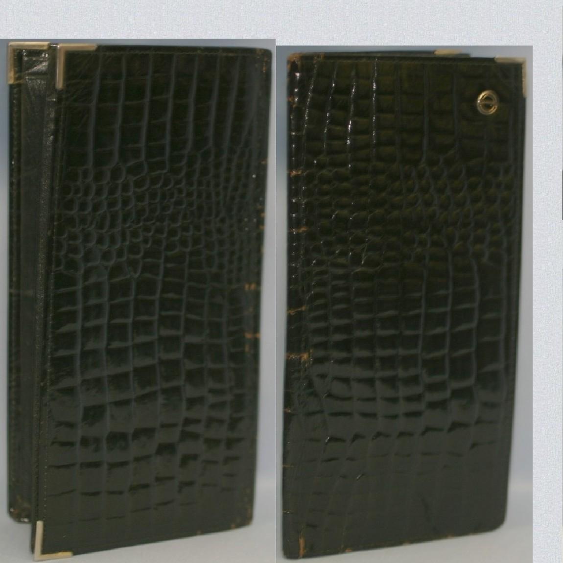 【中古】本物ダンヒル紳士用レアなクロコ素材20センチマチあり長財布