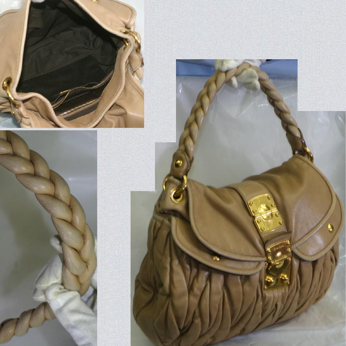 【中古】本物可ミュウミュウベージュ色革素材ゴージャスなセミショルダーバッグ サイズW35H29D6cm