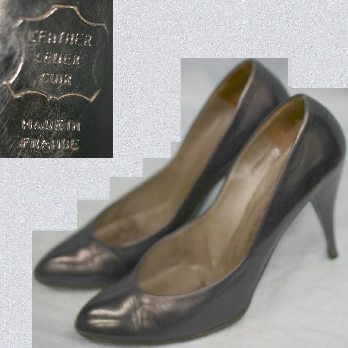 本物美品シャルルジョルダン女性用濃紺パンプスヒール9cm ○D5 184tCshdQxr