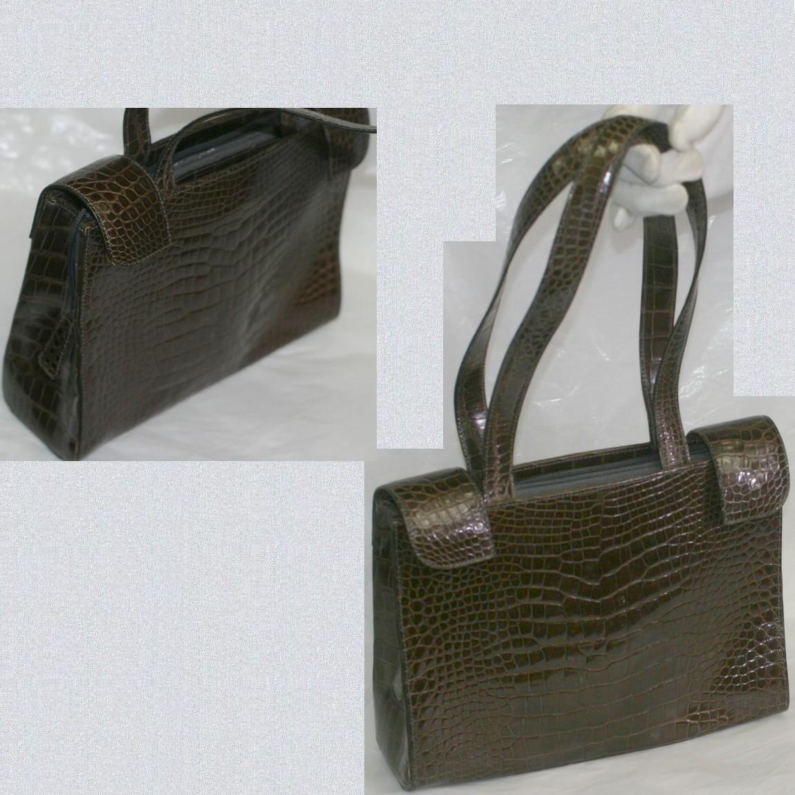 【中古】本物美品OLOPクロコダイル素材女性用イタリー製持ち手の長いハンドバッグ サイズW25,5H19D8cm
