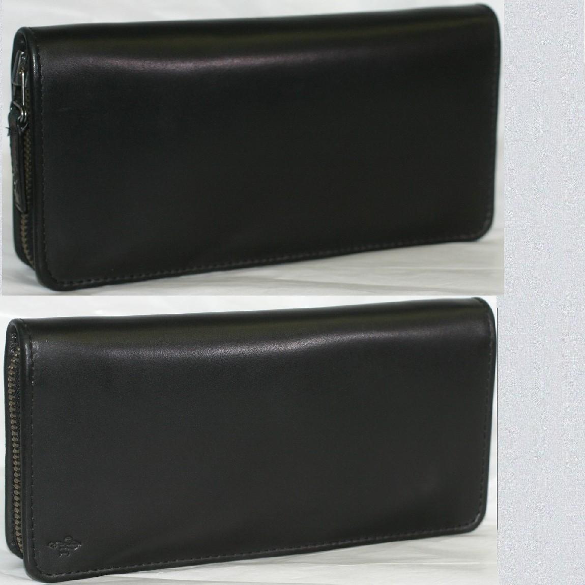 【中古】本物新品未使用コールハーン紳士用中がコバルト色長財布ロングジッピーウォレットA83659