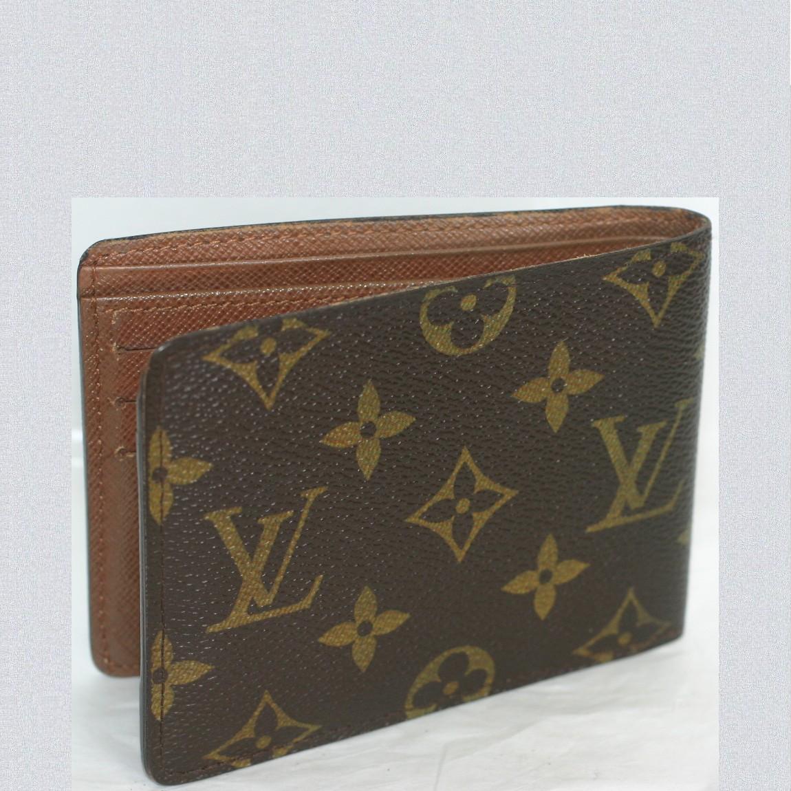 【中古】本物綺麗L/Vモノグラム柄紳士用2つ折り財布ミュルティプルM60895 サイズW11,5H9cm
