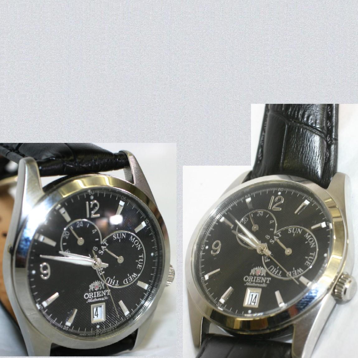 【中古】本物ほぼ新品オリエント紳士用50m防水自動巻きの時計ET07-C2-C