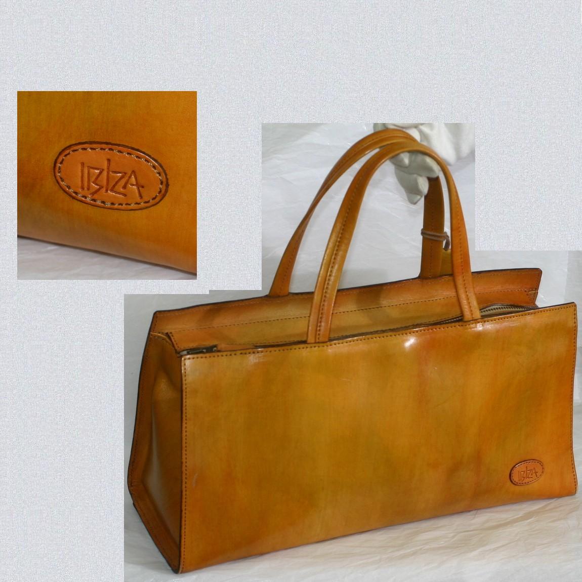 【中古】本物可イビザ女性用横長黄色系のハンドバッグ サイズW36,5H17,5D12,5cm