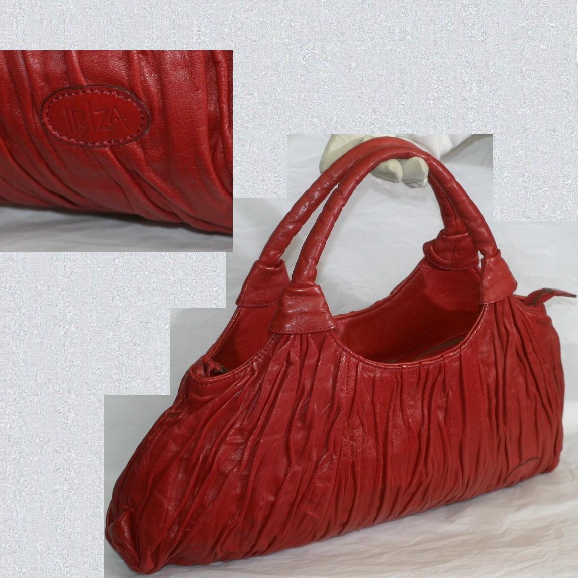 【中古】本物綺麗でお洒落な作りイビザ女性用赤い柔らかい革素材トートバッグ サイズW42H24D6cm