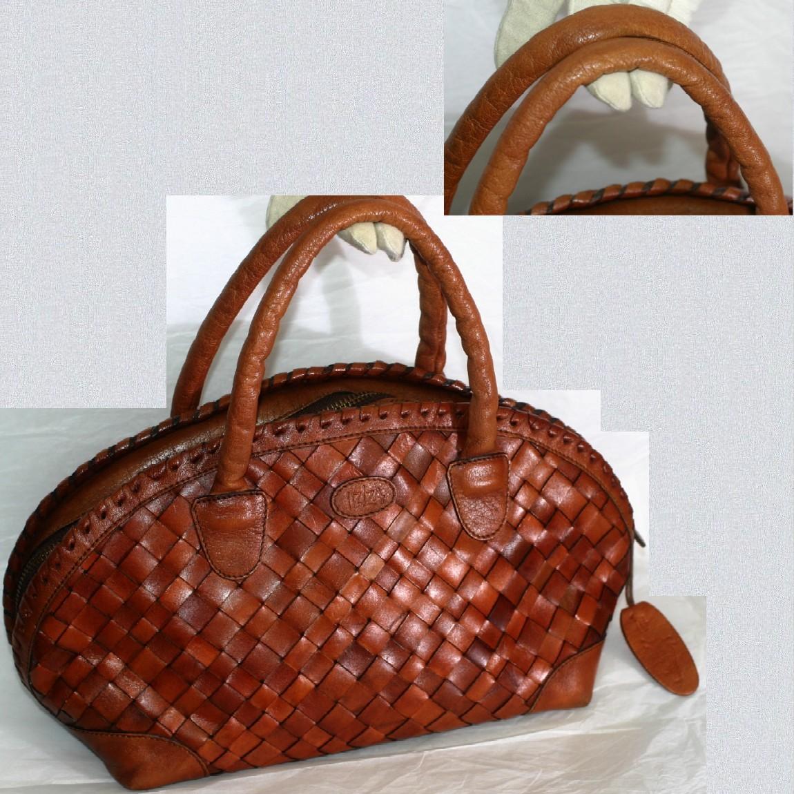 【中古】本物可イビザ女性用編みこまれた革素材持ち手が革素材のボストンバッグ サイズW36H18D14cm
