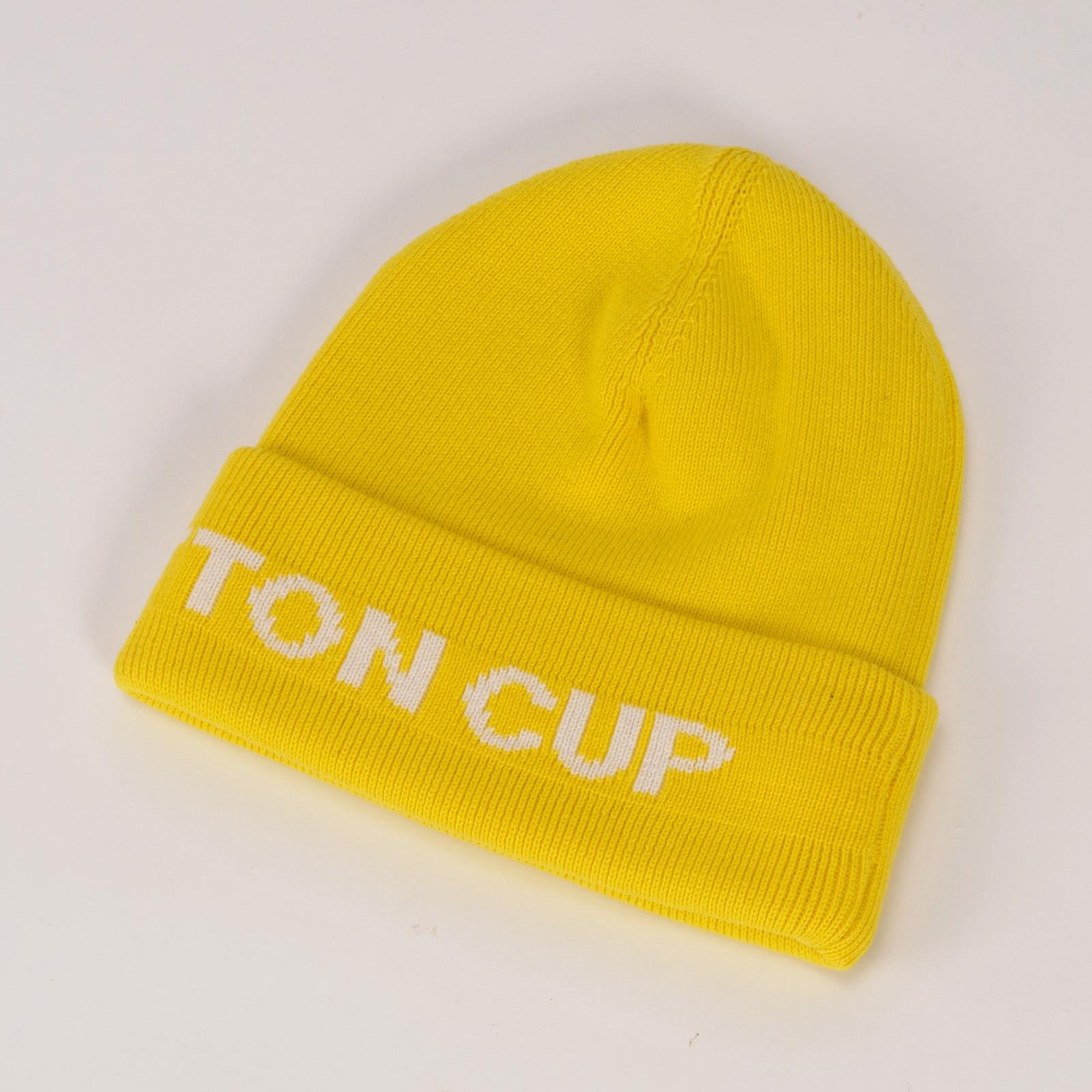 【中古】本物未使用L/V CUP2003の黄色いニット帽 コットン100% TUフリーサイズ ○D8-129-1