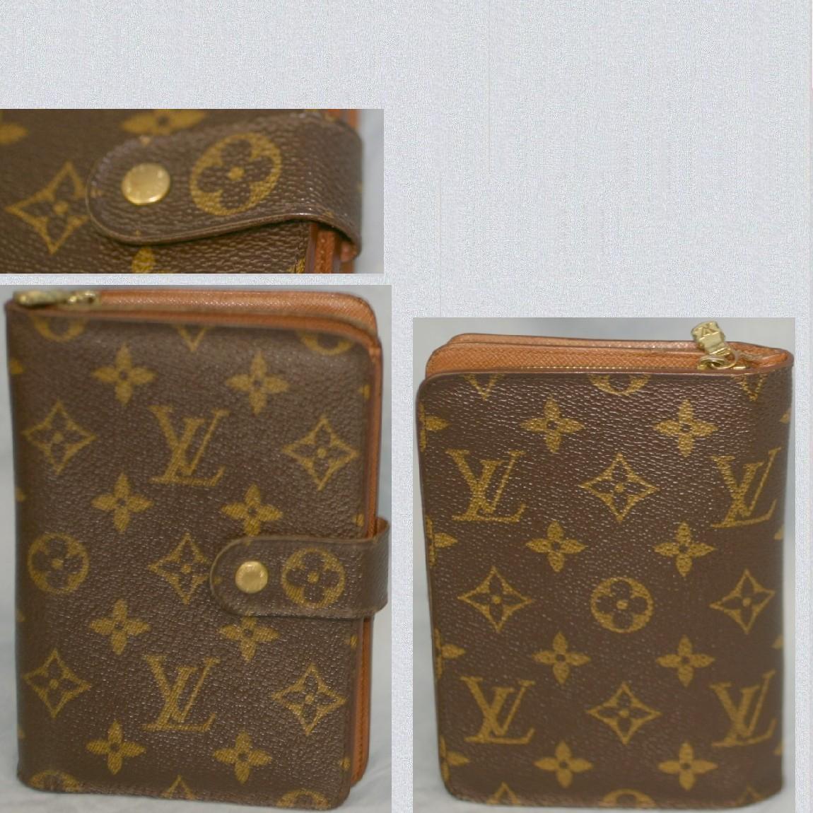【中古】本物可L/VM61207女性用モノグラム柄11x16cmファスナー付財布