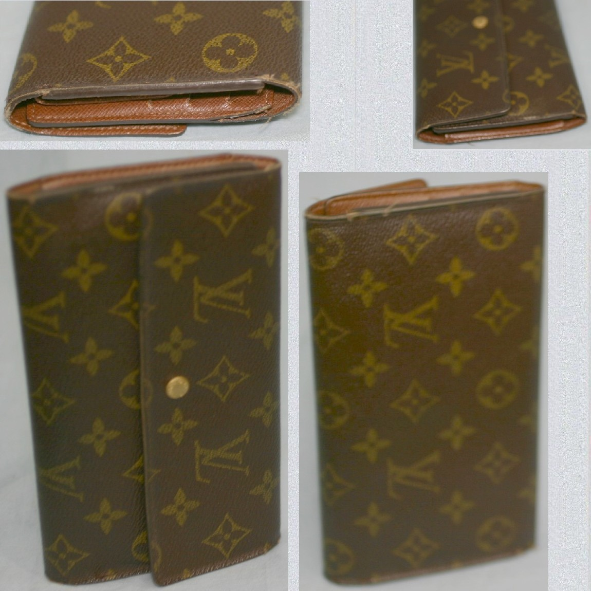 【中古】本物可L/VM61215モノグラム柄女性用19cm3つ折長財布