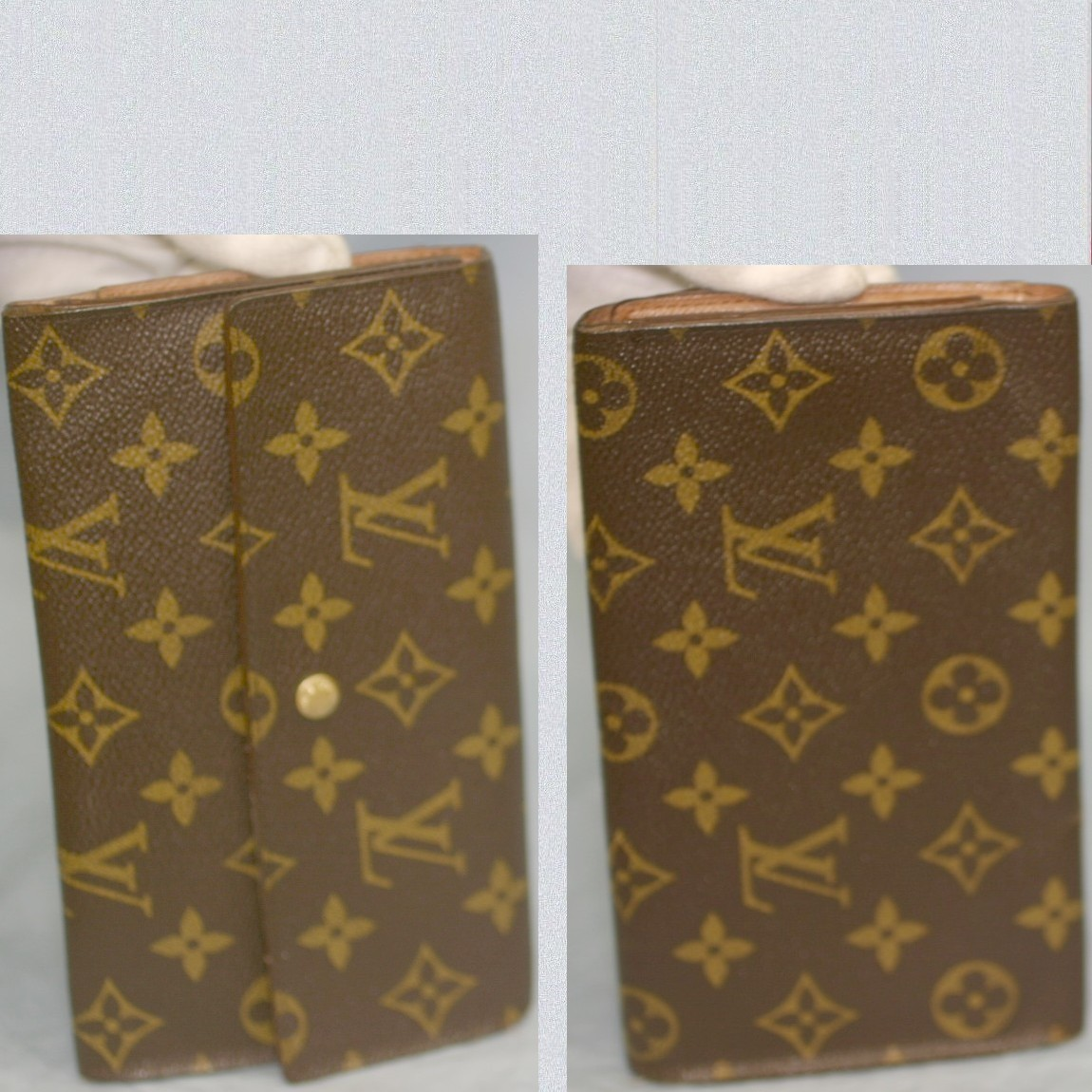 【中古】本物可L/VM61215紳士兼女性用モノグラム柄19cm3つ折長財布