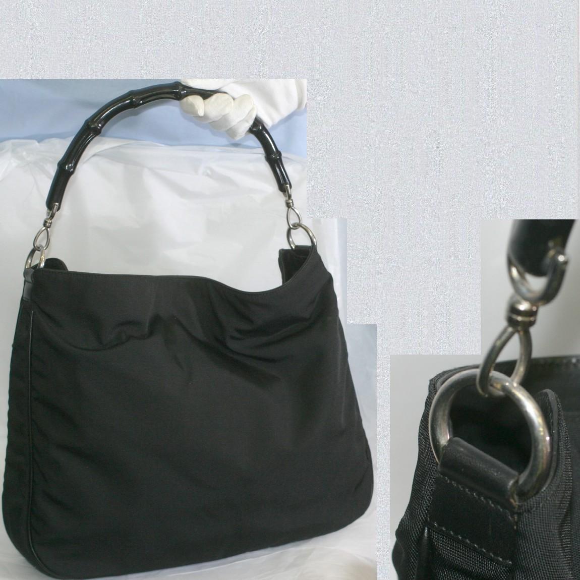 【中古】本物可グッチ女性用黒いバンブー持ち手ナイロンキャンバスx黒革素材ホーボーセミショルダーバッグ サイズW38H31D10cm
