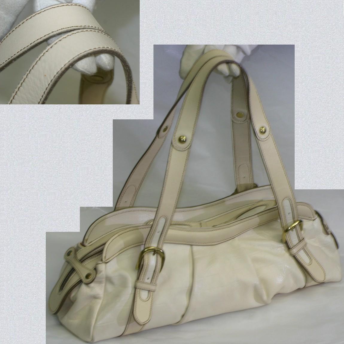 【中古】本物美品ダコタ女性用白い革素材横長ハンドバッグ サイズW38H10D12cm