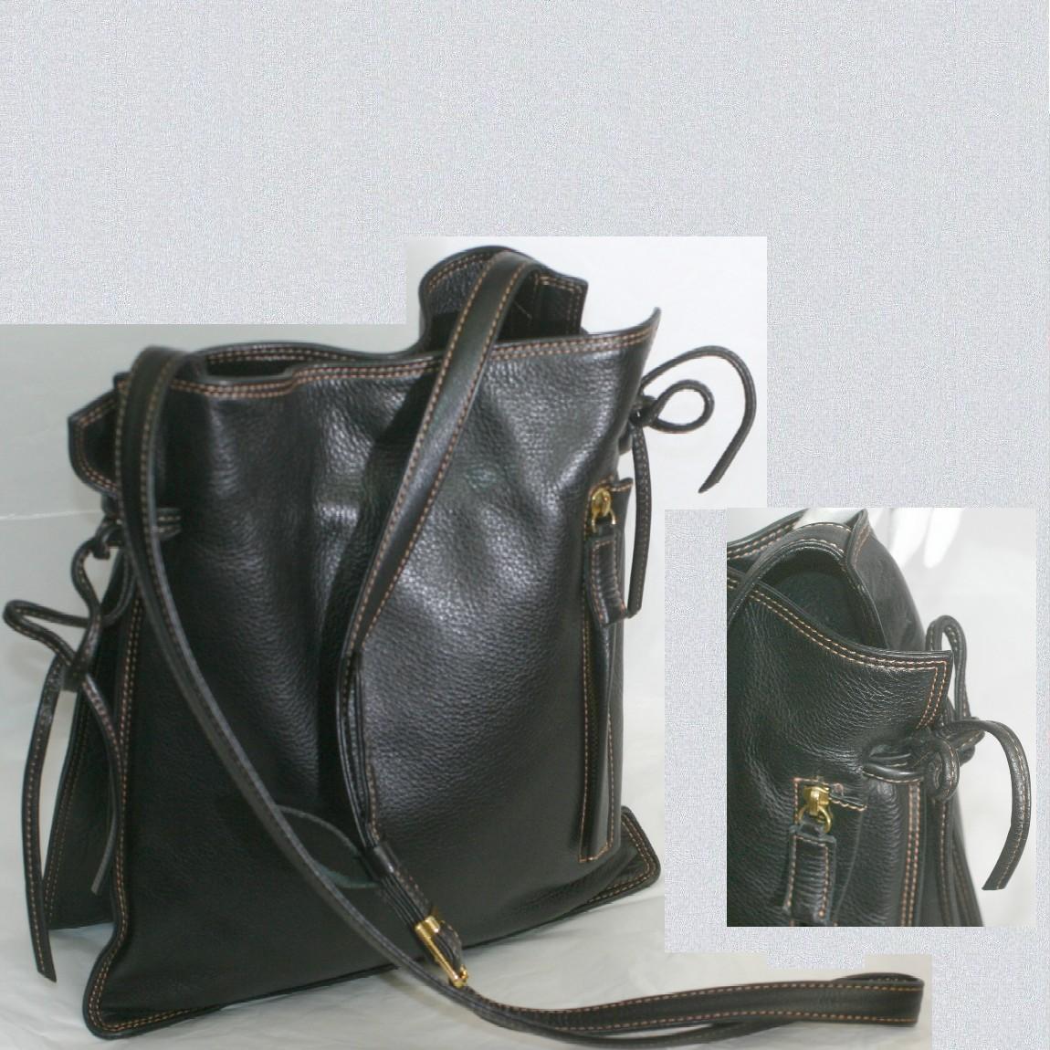 【中古】本物ほぼ新品キタムラ女性用斜め掛け可能な黒い柔らかい革素材縦長ショルダーバッグ