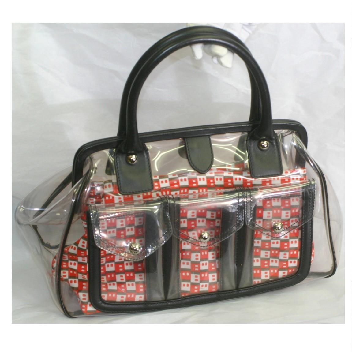中古 本物綺麗BALLYバリーの女性用のがま口式クリアビニールx黒革素材のハンドバッグ サイズW34H18D14cm ○C15-51 ついに入荷 新着セール