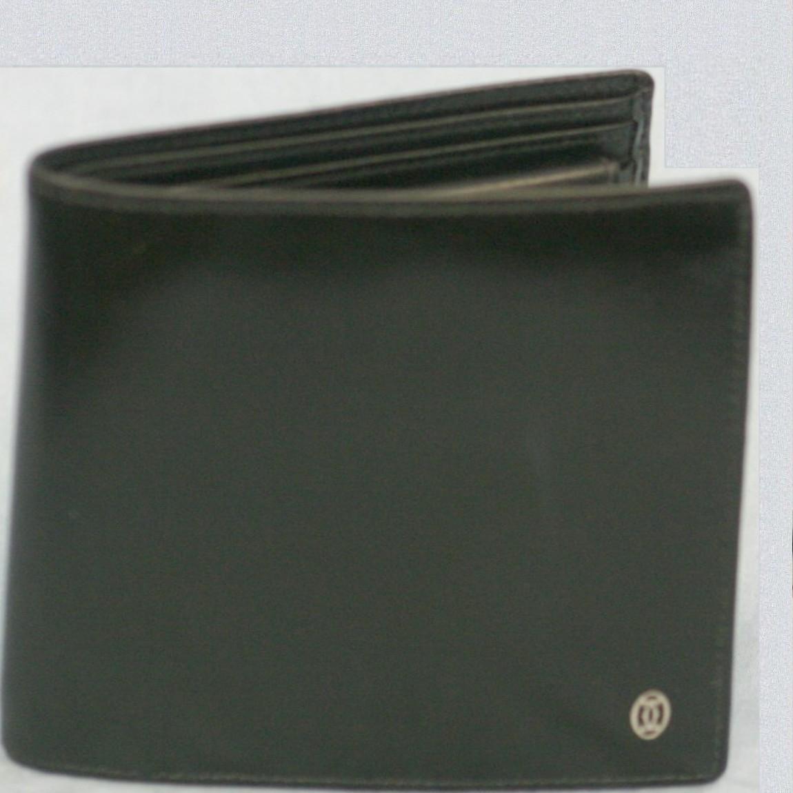 【中古】本物美品カルティエ紳士用黒い2つ折財布