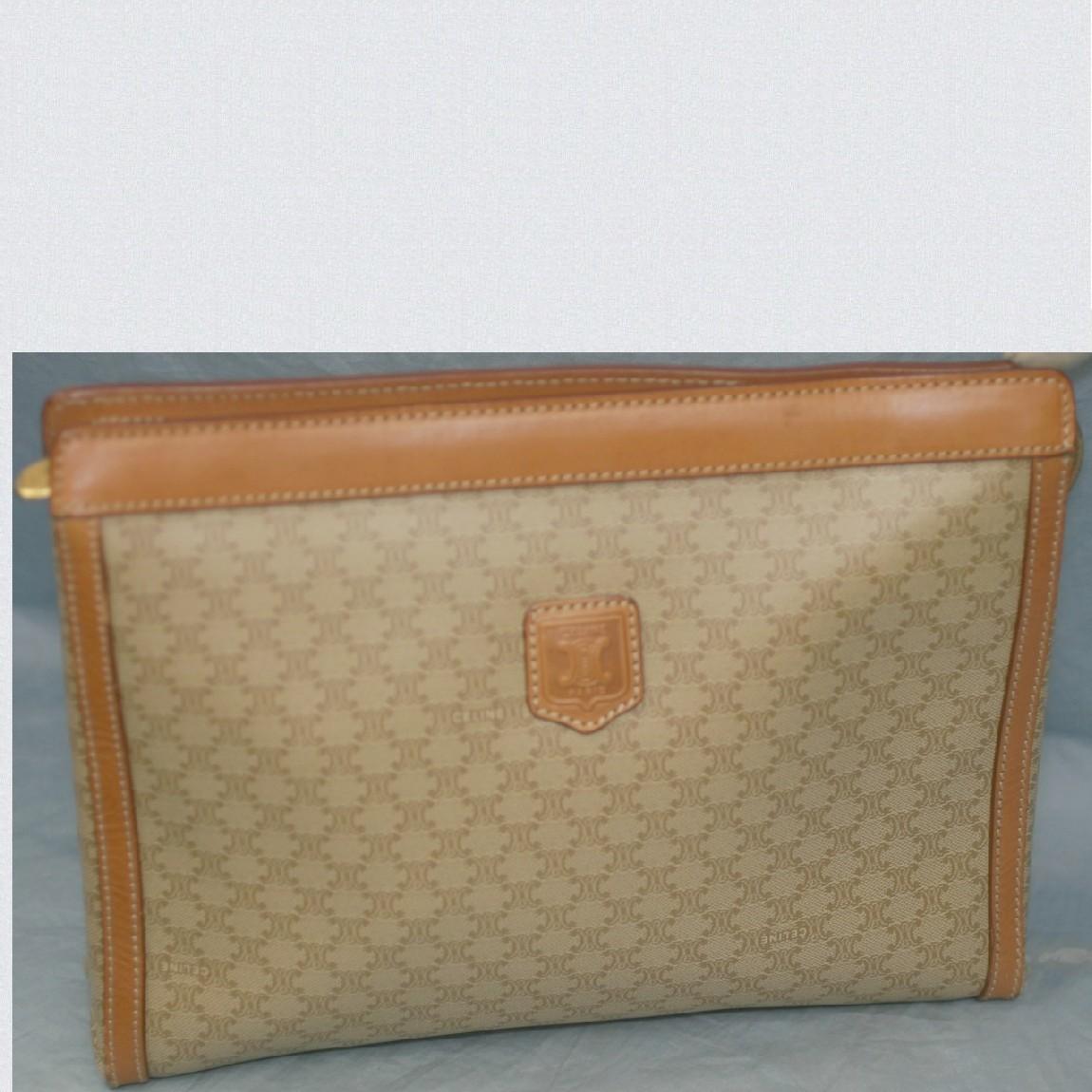 【中古】本物綺麗女性用セリーヌロゴベージュx茶革28cmセカンドバッグ