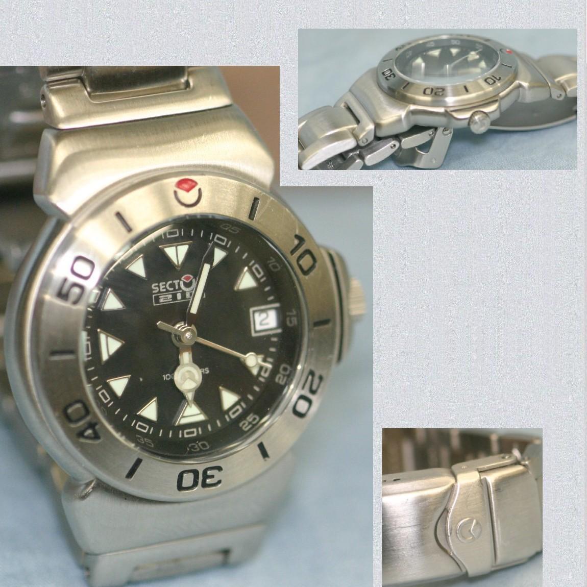 【中古】本物完動美品セクター女性用100m防水黒文字盤x銀色時計210