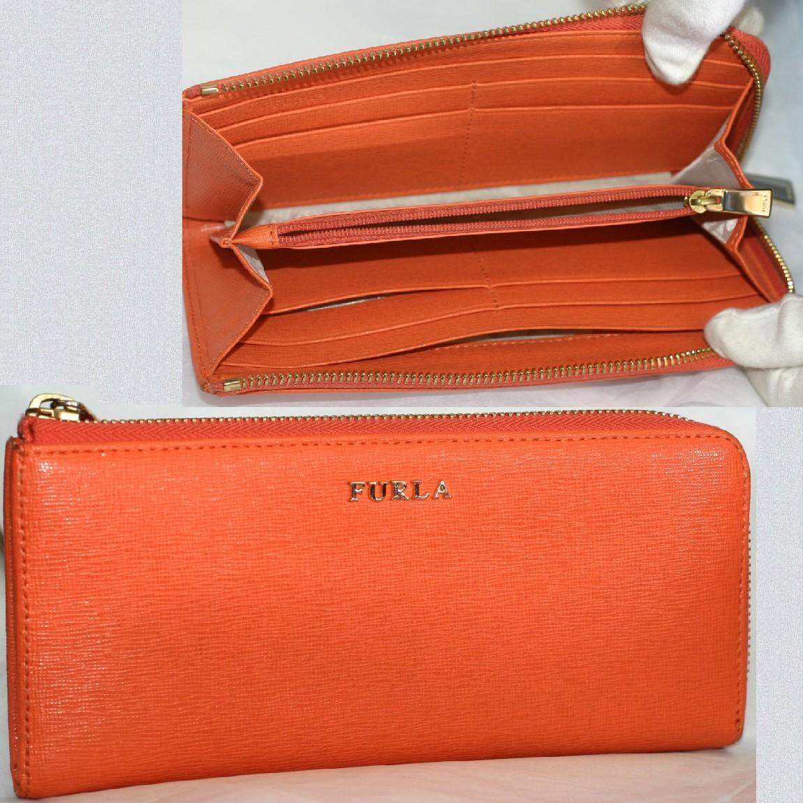 【中古】本物抜群に綺麗フルラ女性用綺麗なオレンジ色L字ファスナーつき長財布 サイズW19,7H9D2,5cm