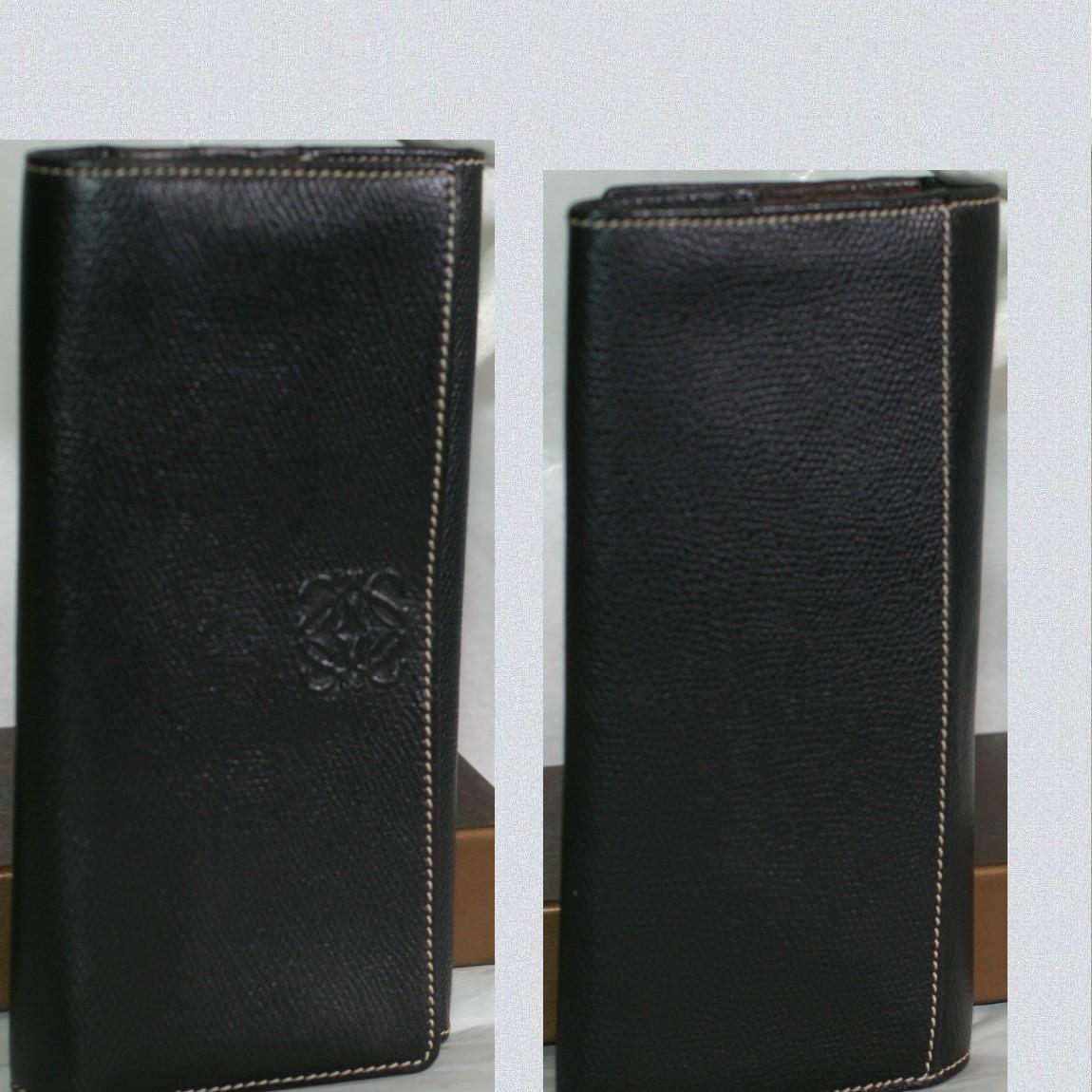 【中古】本物可ロエベ女性用ファスナー付き長財布尾もてゃ黒い革素材に白いステッチ柔らかい革純正の箱付き
