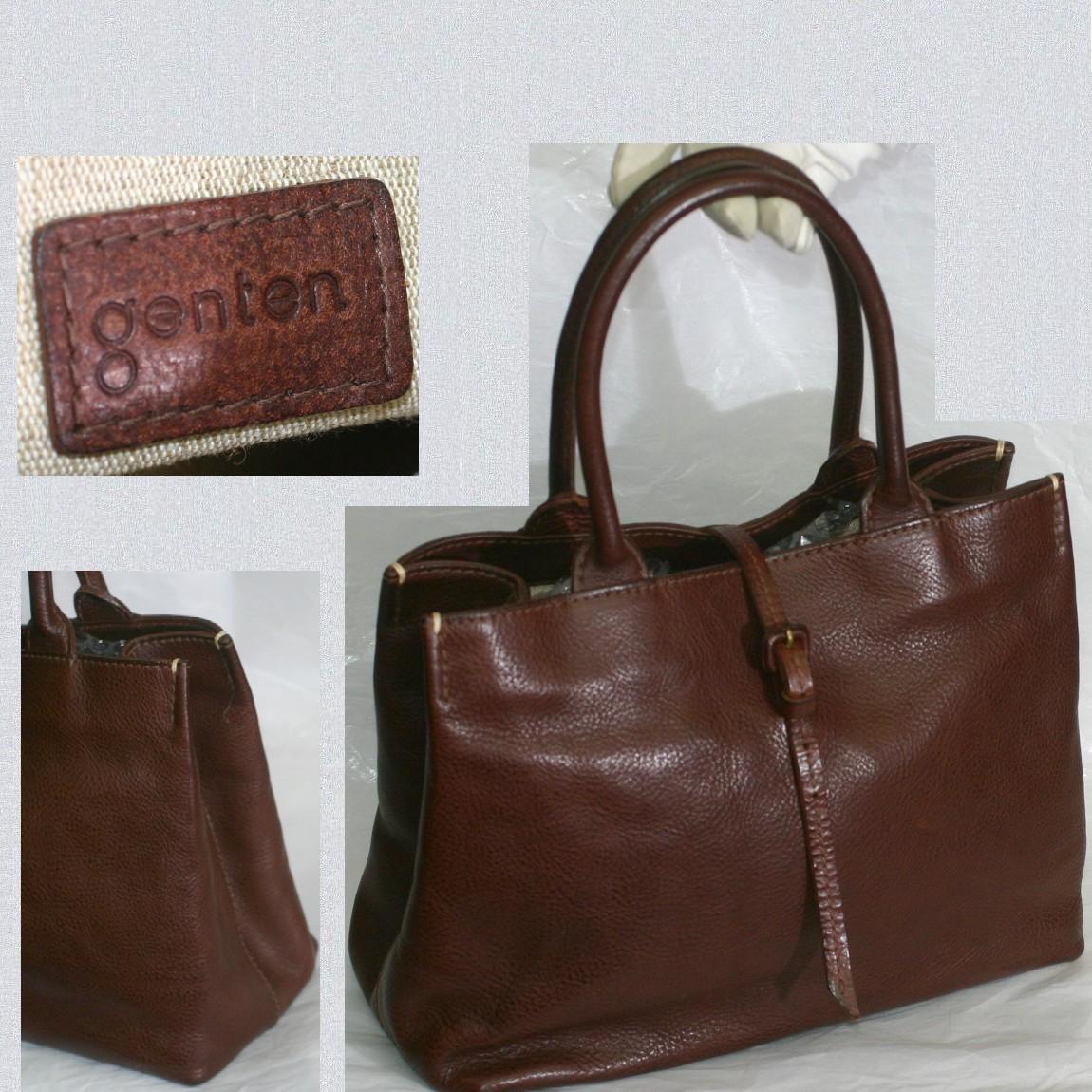 【中古】本物綺麗GENTENゲンテンの焦げ茶色革女性用トートバッグ サイズW29H20,5D10cm