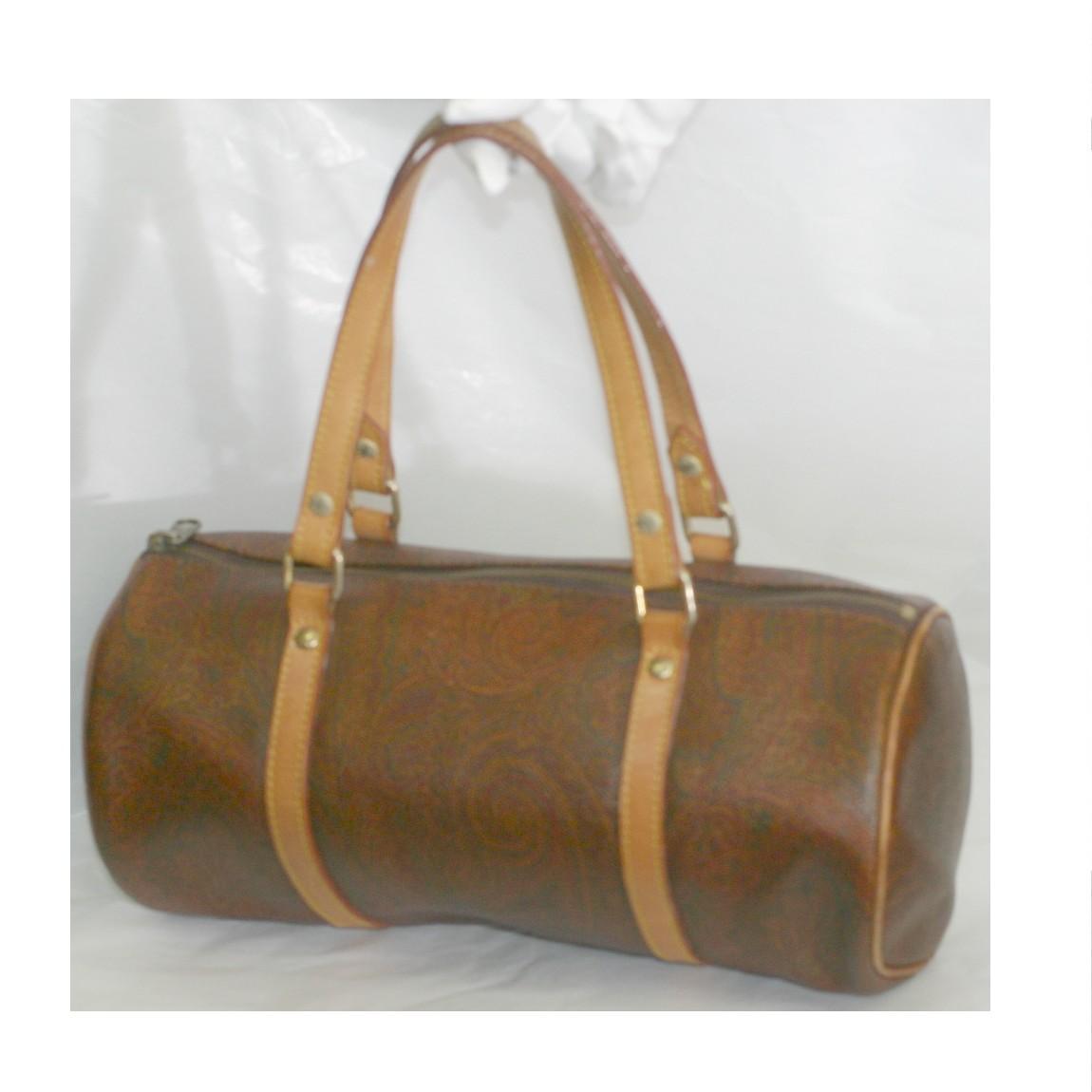 【中古】本物美品エトロ女性用ペイズリー柄の円筒形バッグ サイズW29直径14cm ○C14-147