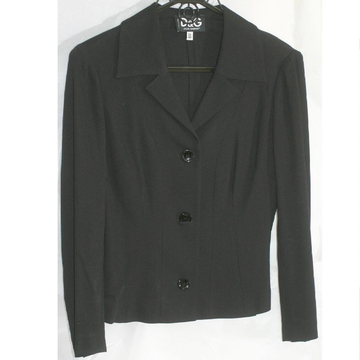 【中古】本物抜群に綺麗D&Gの女性用の黒いジャケット ○D3-166 サイズ着丈50、肩幅42、身幅44、袖丈54cm