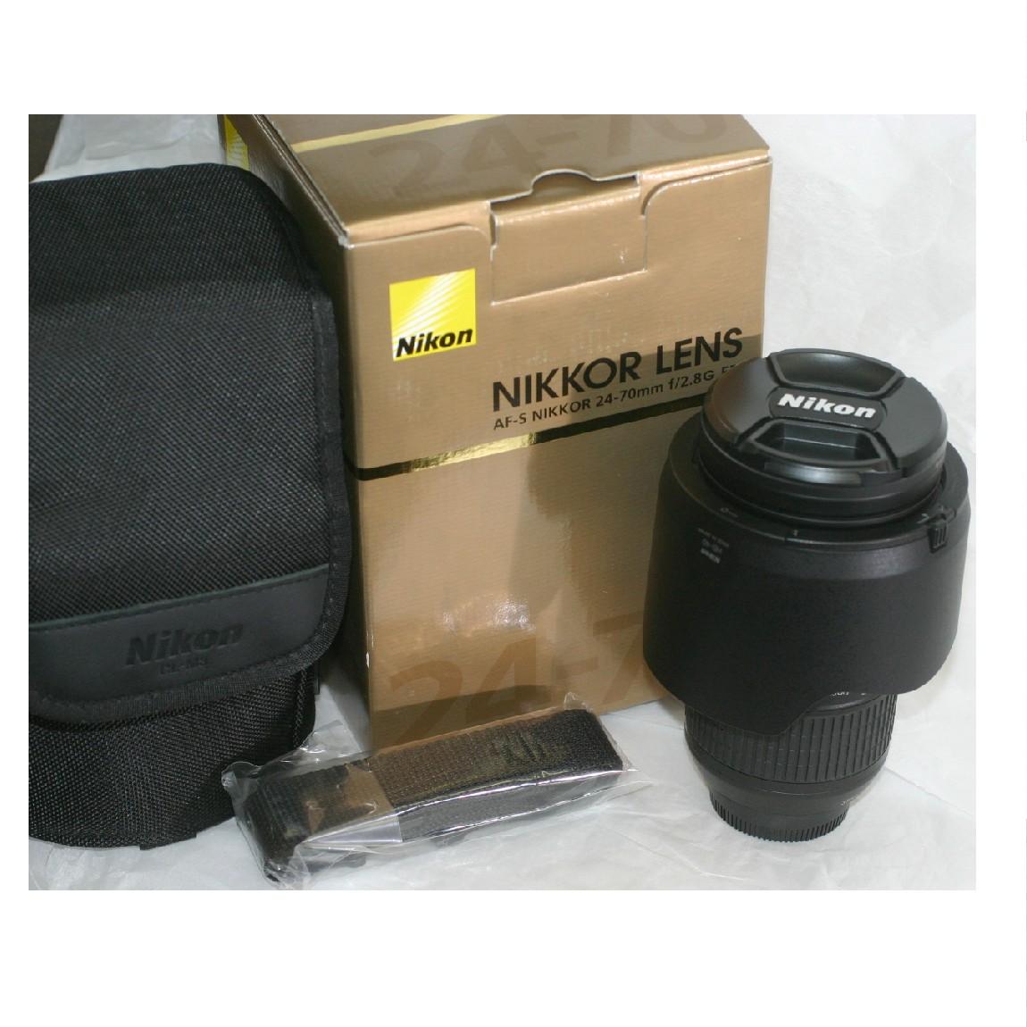 【中古】本物未使用ニコンのカメラレンズAF-Sニッコール24-70mmF2,8G ED ○F14-