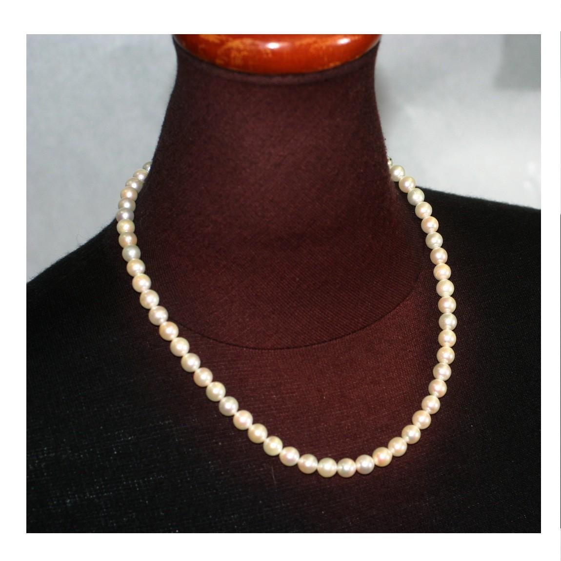 中古 綺麗本真珠の6 5mm玉全長42cmのパールネックレス ○B13-58-1 売却 完全送料無料