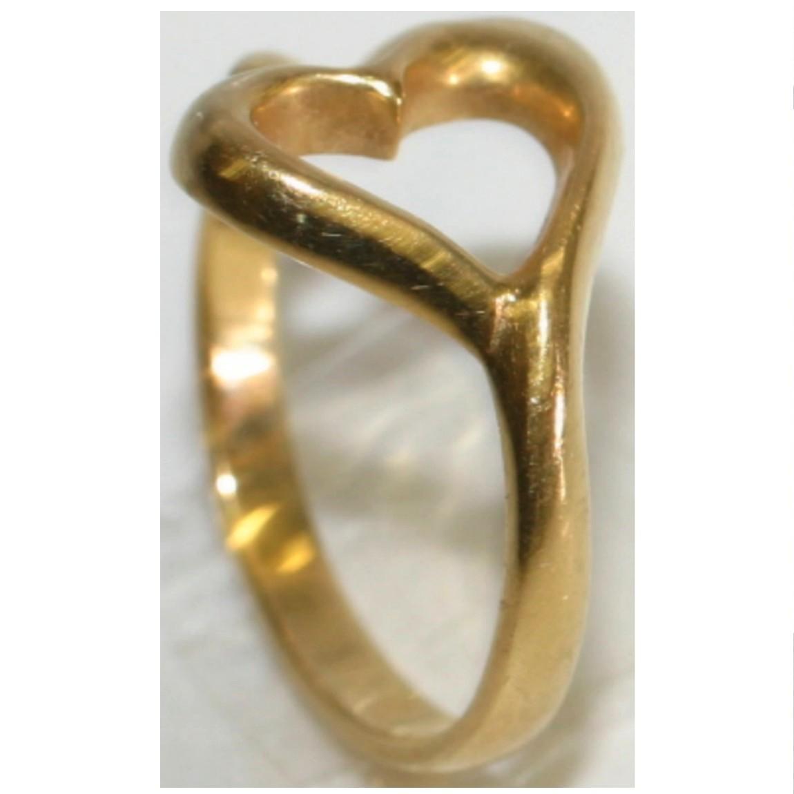 【中古】ハートの形のトップのついたK18YGイエローゴールドの指輪 重さ2,8g 日本サイズ9号 20200422-3