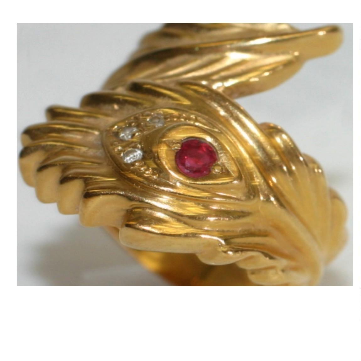 【中古】中央にルビーが埋め込まれているK18YGイエローゴールドの指輪 重さ5,3g 日本サイズ11号 20200422-4