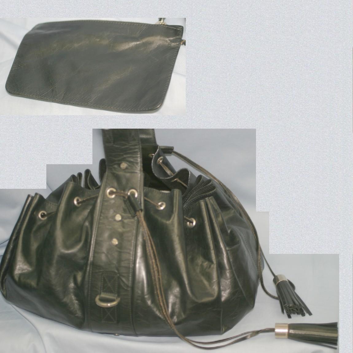 【中古】本物綺麗ジバンシイ女性用34x30x28センチマチの広い体にフィットした作りの丈夫な黒革素材巾着ショルダー斜め掛け可能バッグ