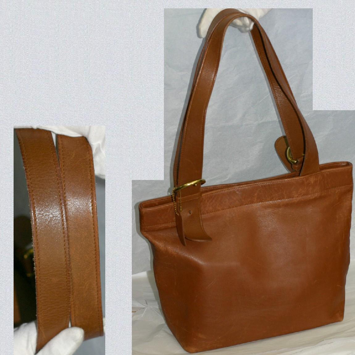 【中古】本物可コーチ女性用茶色い革素材38x28x13cmトートバッグ4140