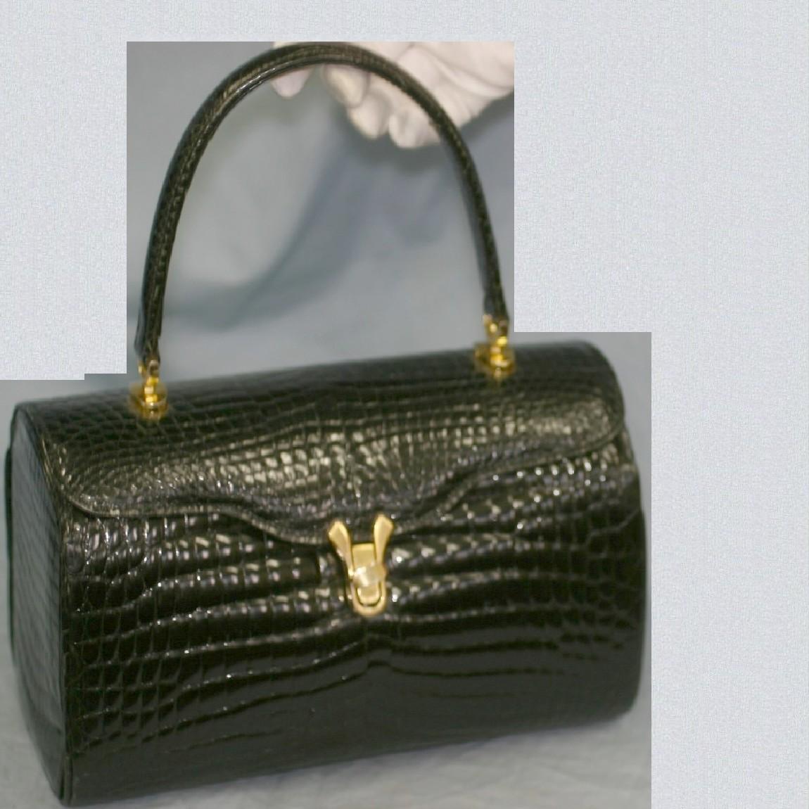 【ギフト】 【中古】本物綺麗クロコ素材黒女性用使いやすいお洒落な25,5cmバッグ, こだわりほんものSHOP:7e731347 --- ejyan-antena.xyz