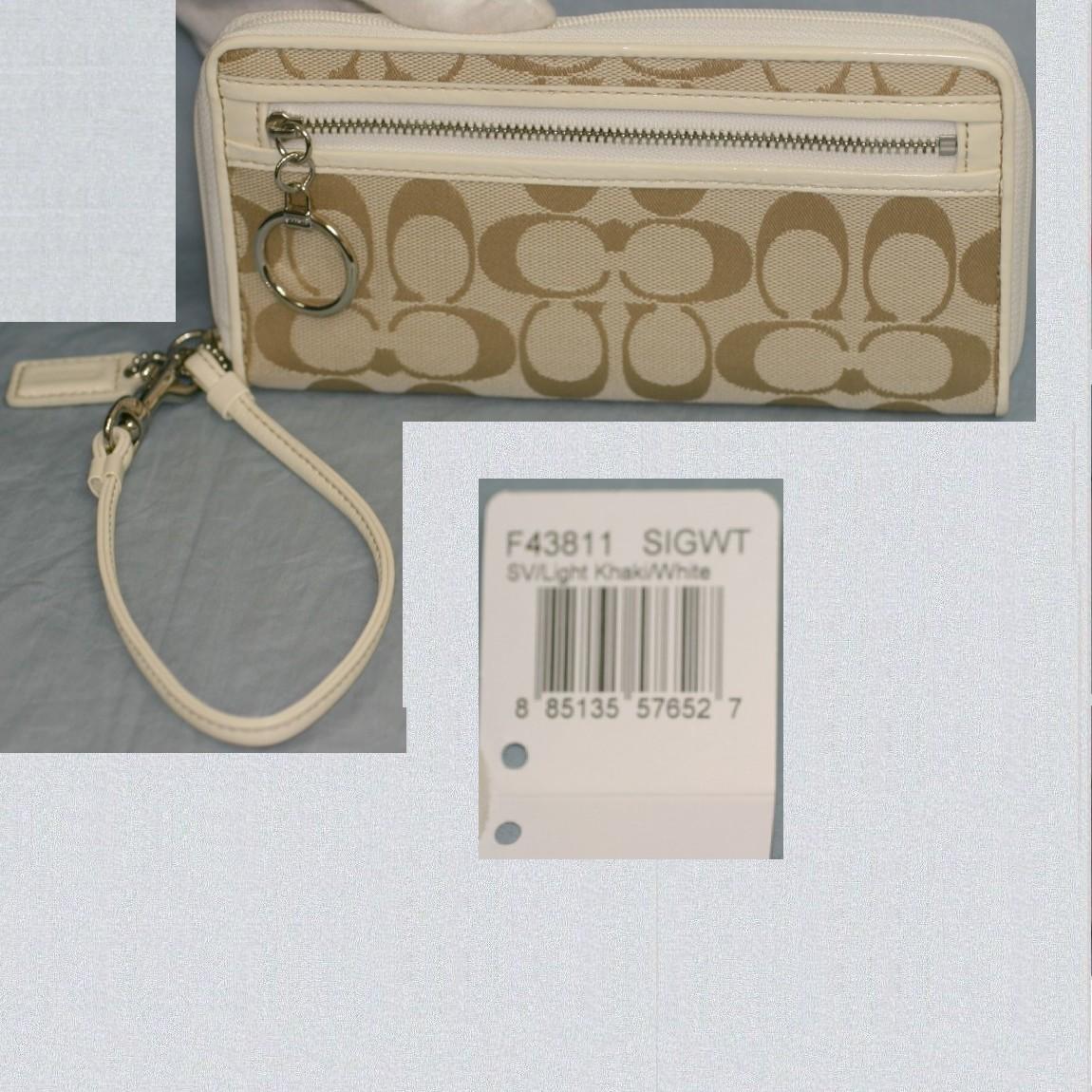 【中古】本物展示未使用品コーチ女性用ライトカ-キシグ模様ラウンドファスナー19,5cm長財布