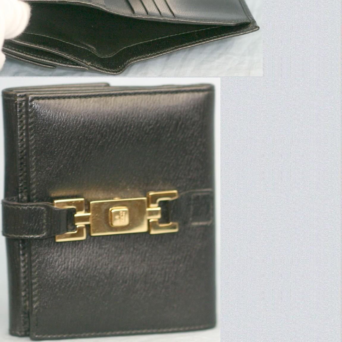 【中古】本物綺麗グッチ女性用黒革金色ジャッキー金具Wホックの財布