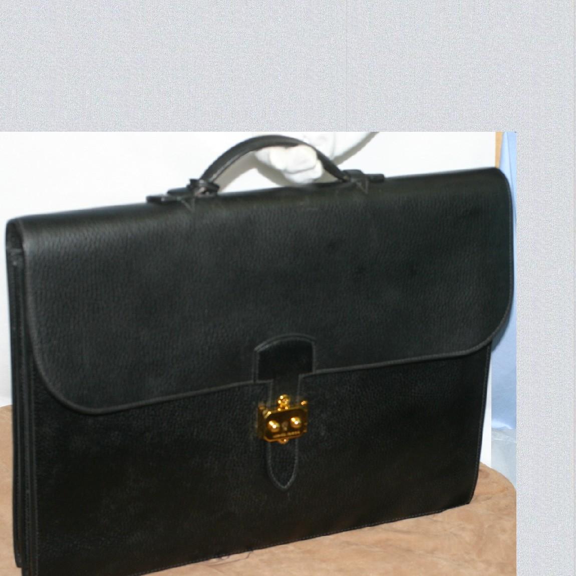 【中古】本物まだまだ使えるエルメス紳士用マチが2つの書類鞄サック・ア・デ・ペッシュW40H30D8cm