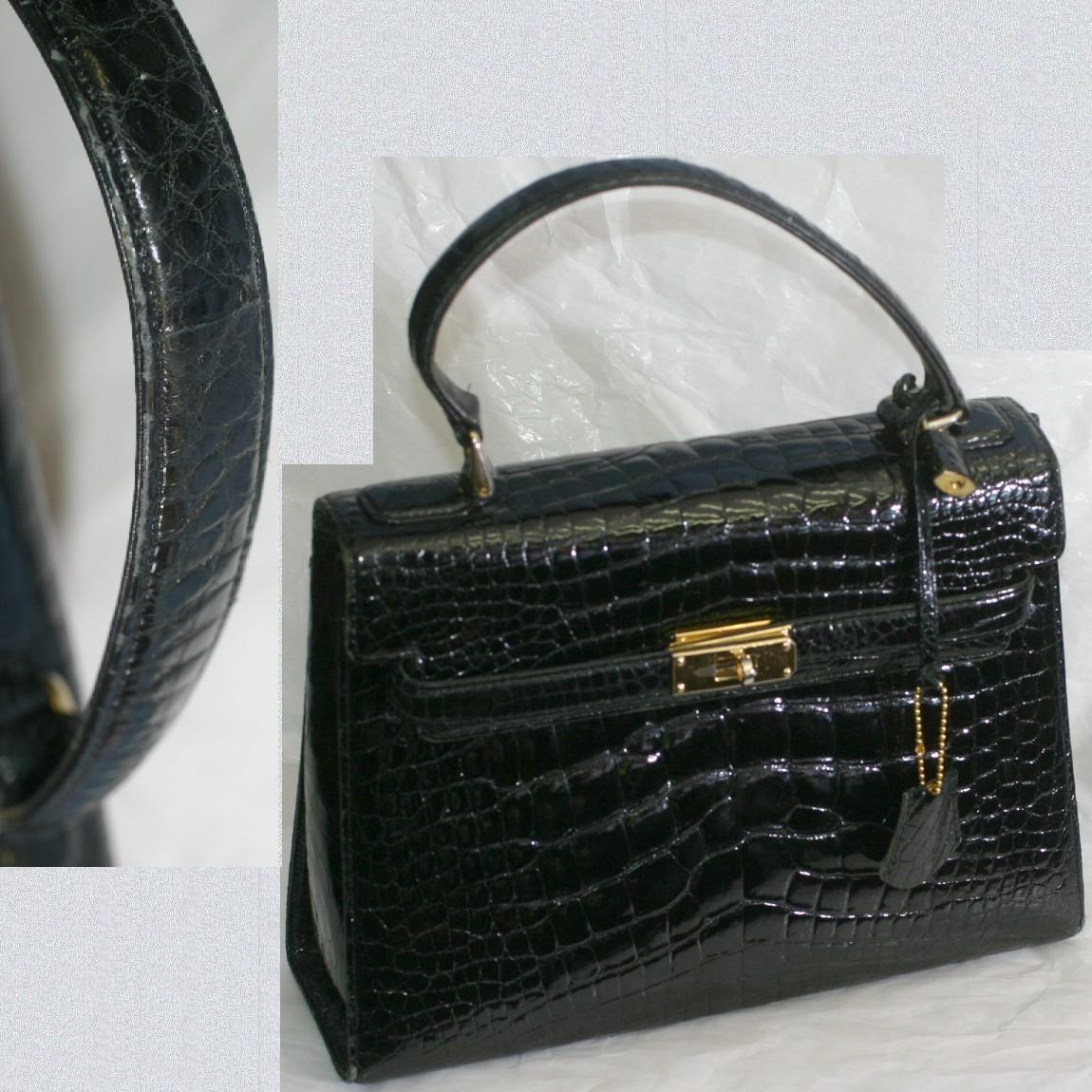 【中古】高級感漂う黒いクロコダイル素材金色金具のハンドバッグ サイズW29H21D9,5cm