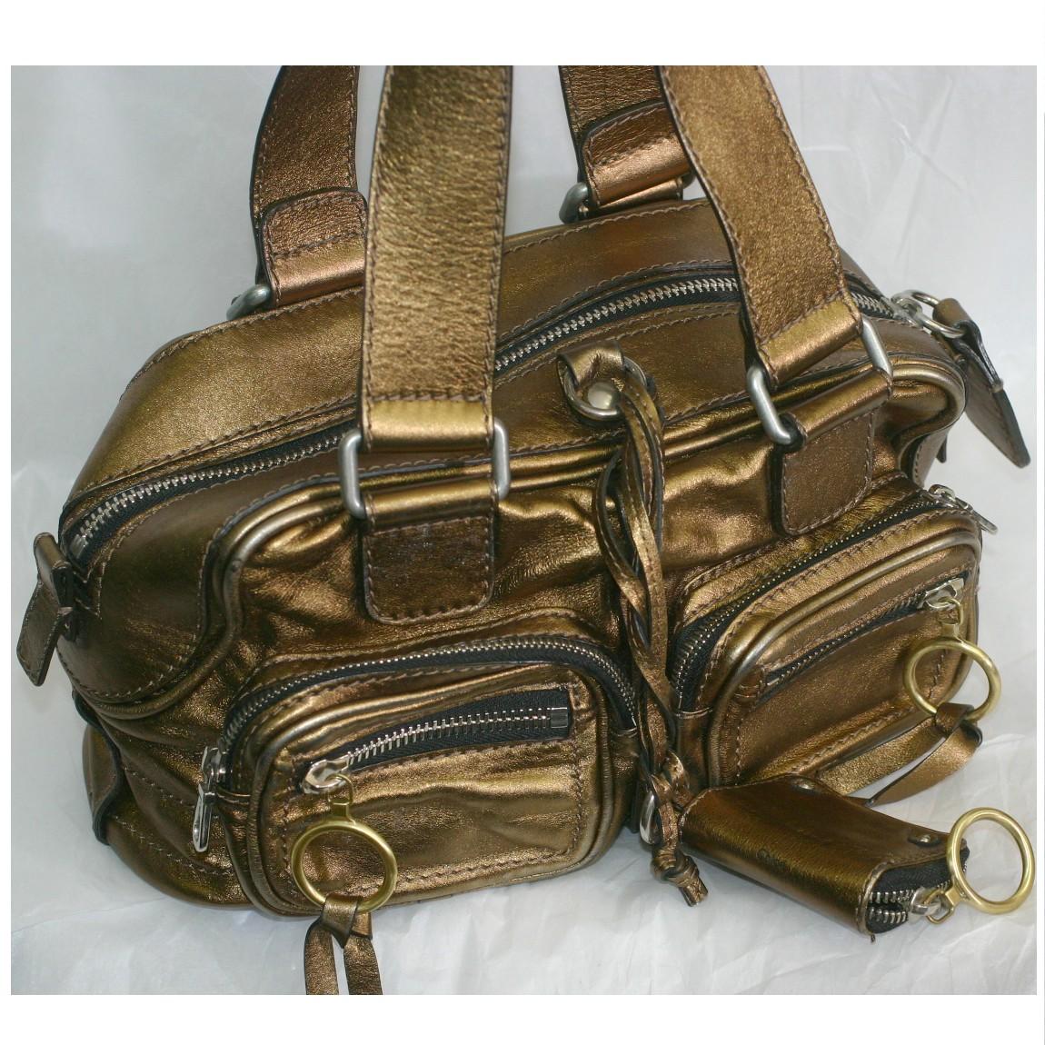 【中古】本物綺麗クロエの女性用金色革素材収納スペースの多いボストンバッグベティ サイズW30H14D16cm