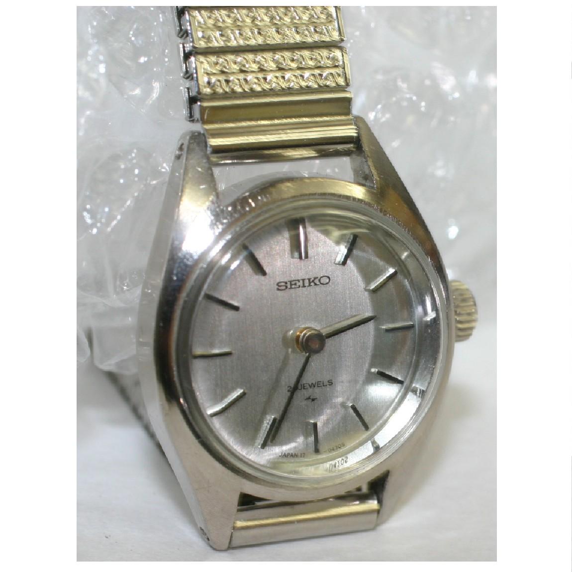 【中古】完動美品セイコーのK14WG素材の手巻きの時計 1ヶ月保障付 ○A5-97