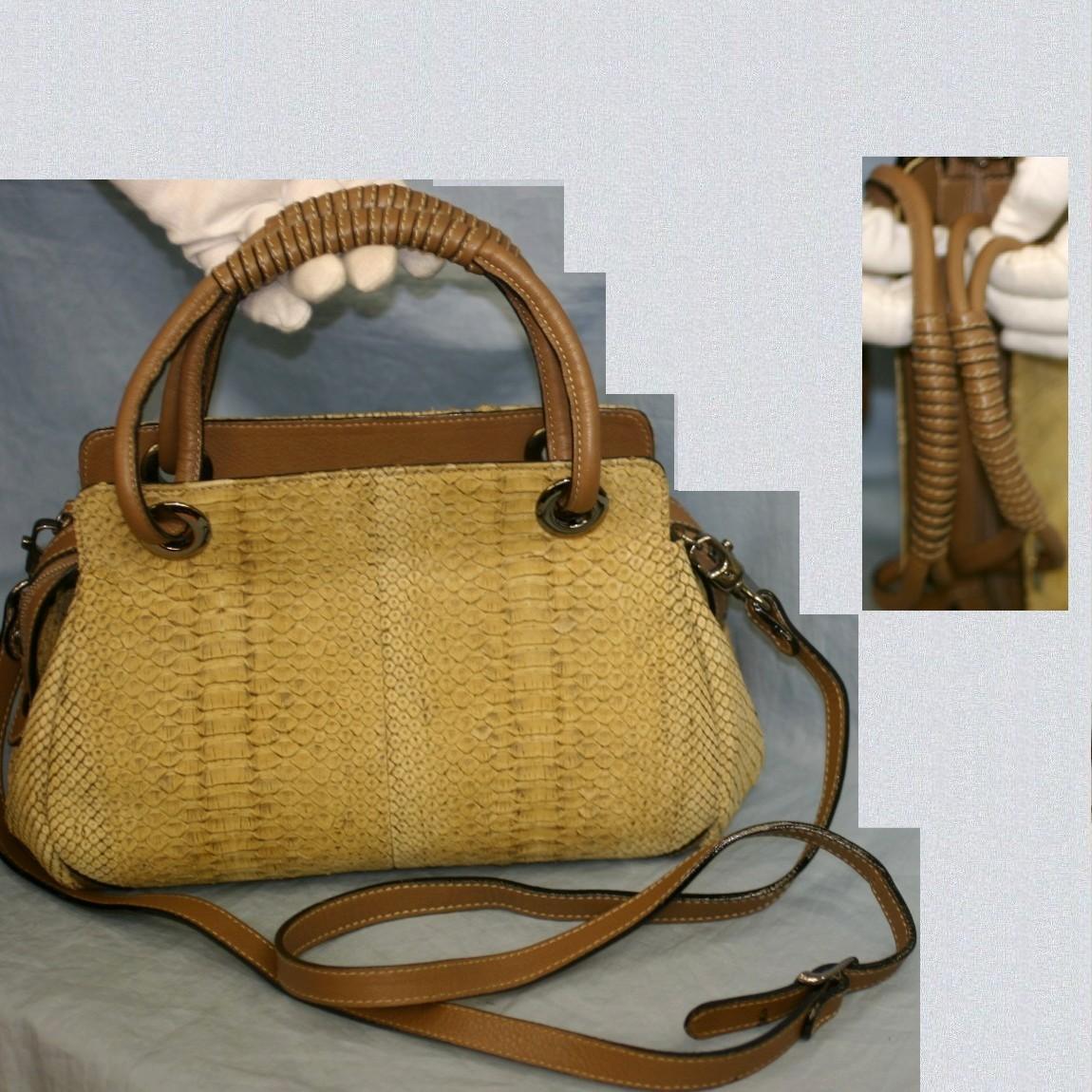 【中古】本物綺麗BETTINA女性用薄いカーキ系ショルダー付27センチ蛇革バッグ