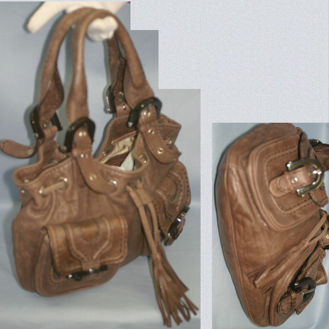 【中古】本物美品ケンゾーKENZO女性用32x23x7センチココア色革ワイルドなデザインのセミショルダー