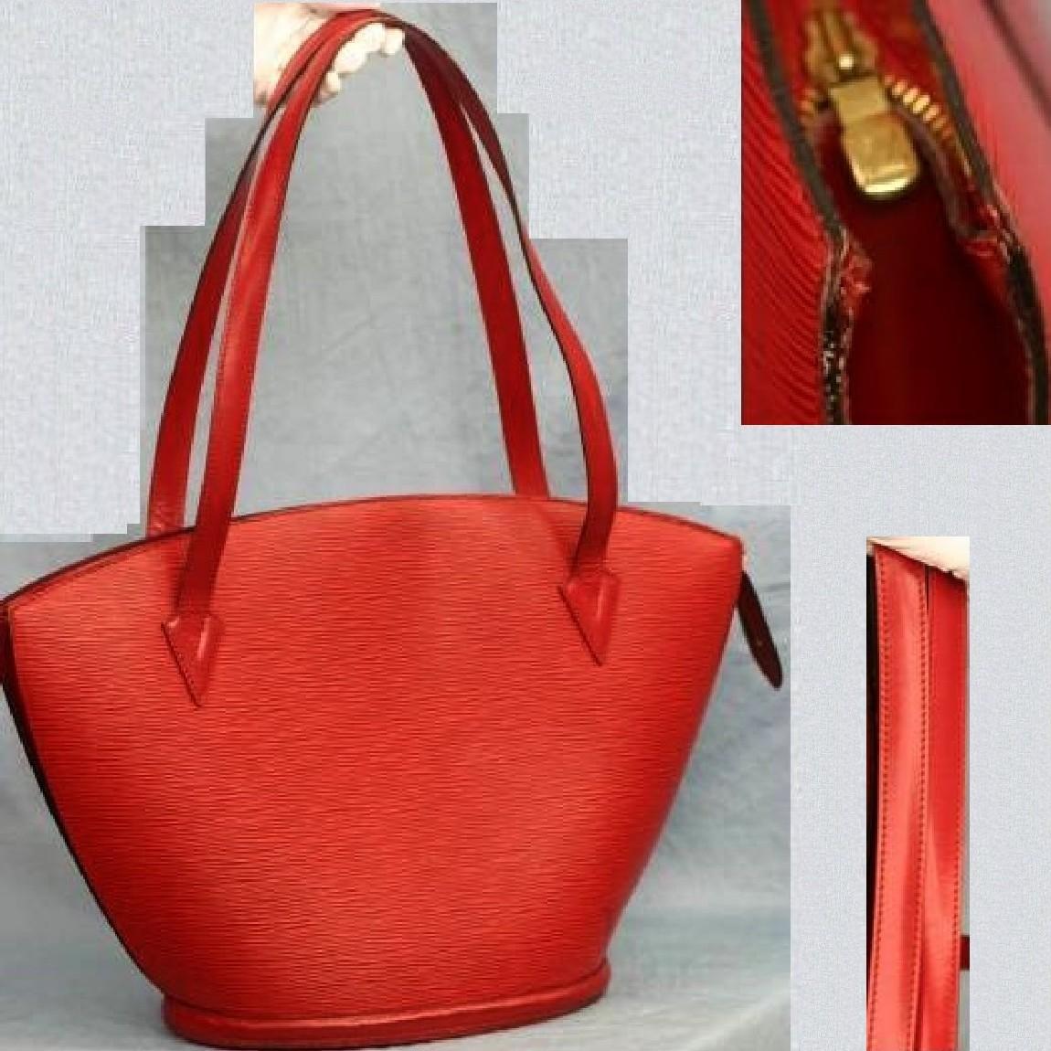 【中古】本物美品L/V M52267女性用エピの赤いサンジャックショッピングバッグ サイズW44,5H30D17cm