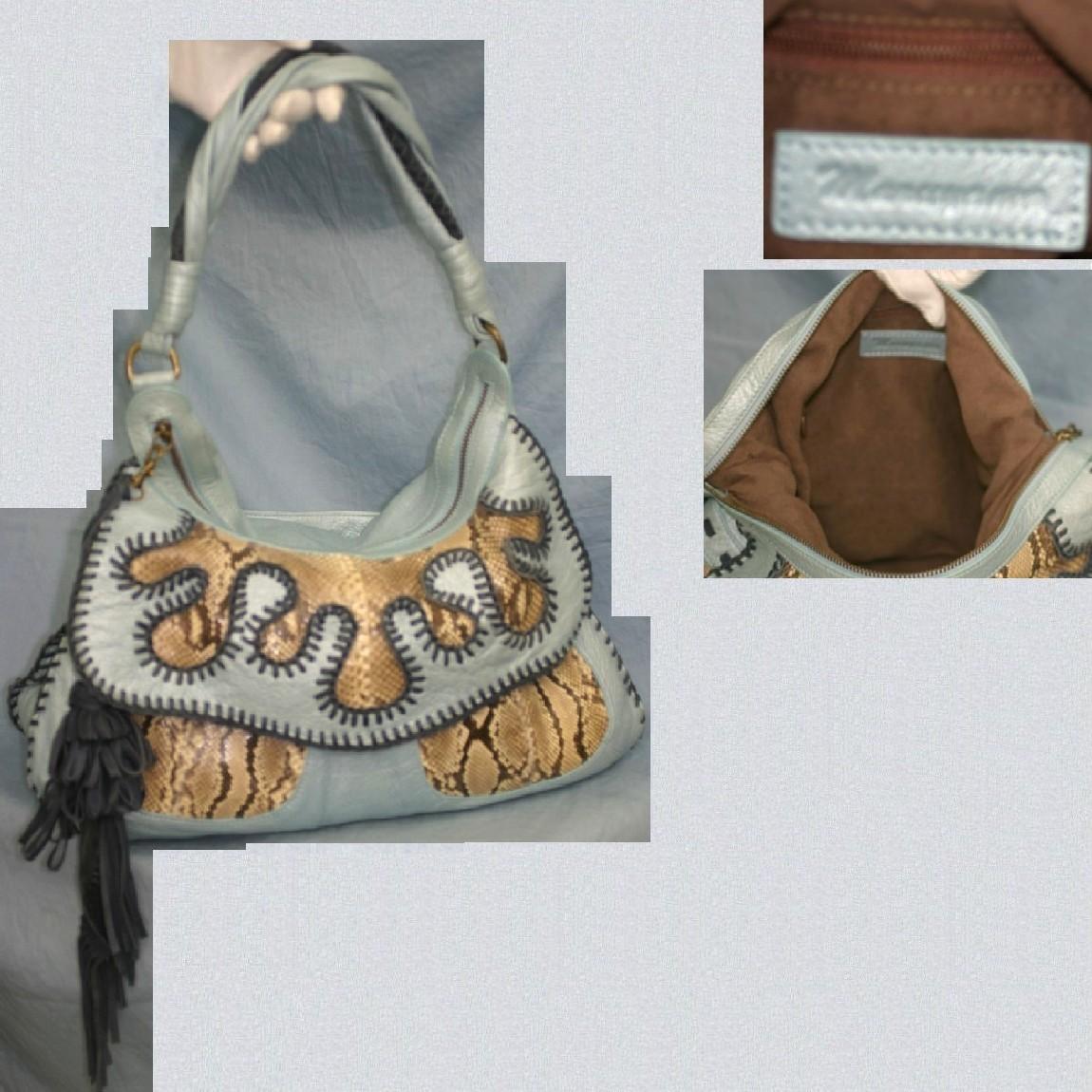 【中古】本物綺麗マルヤマmaruyama水色革x蛇革40cmワイルドなショルダートート