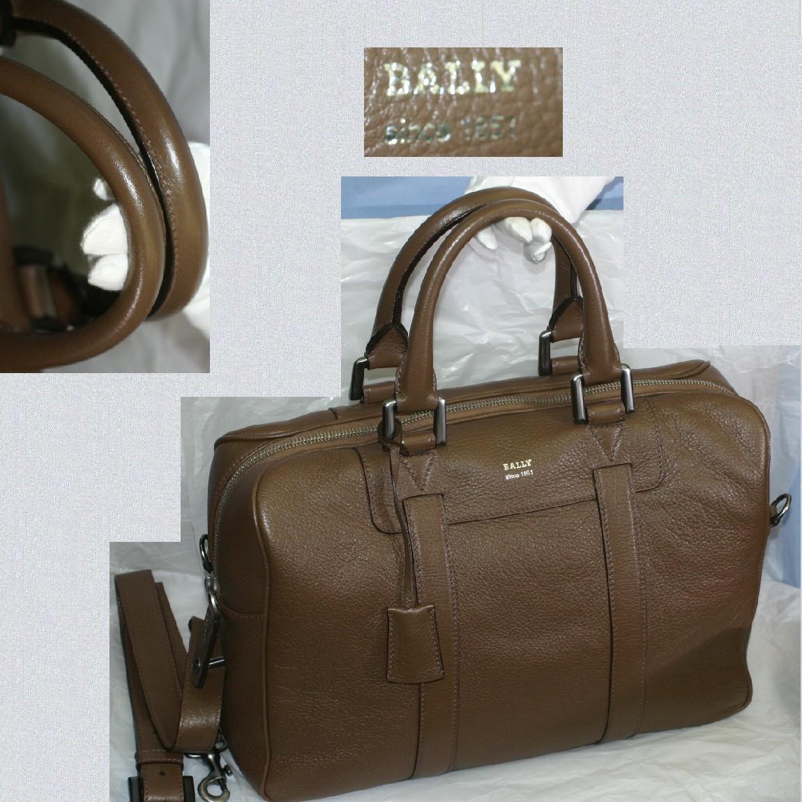 【中古】本物美品BALLYバリー取外し可能ショルダーストラップつきビジネスバッグ兼ボストンバッグブラウン色ボコボコした革