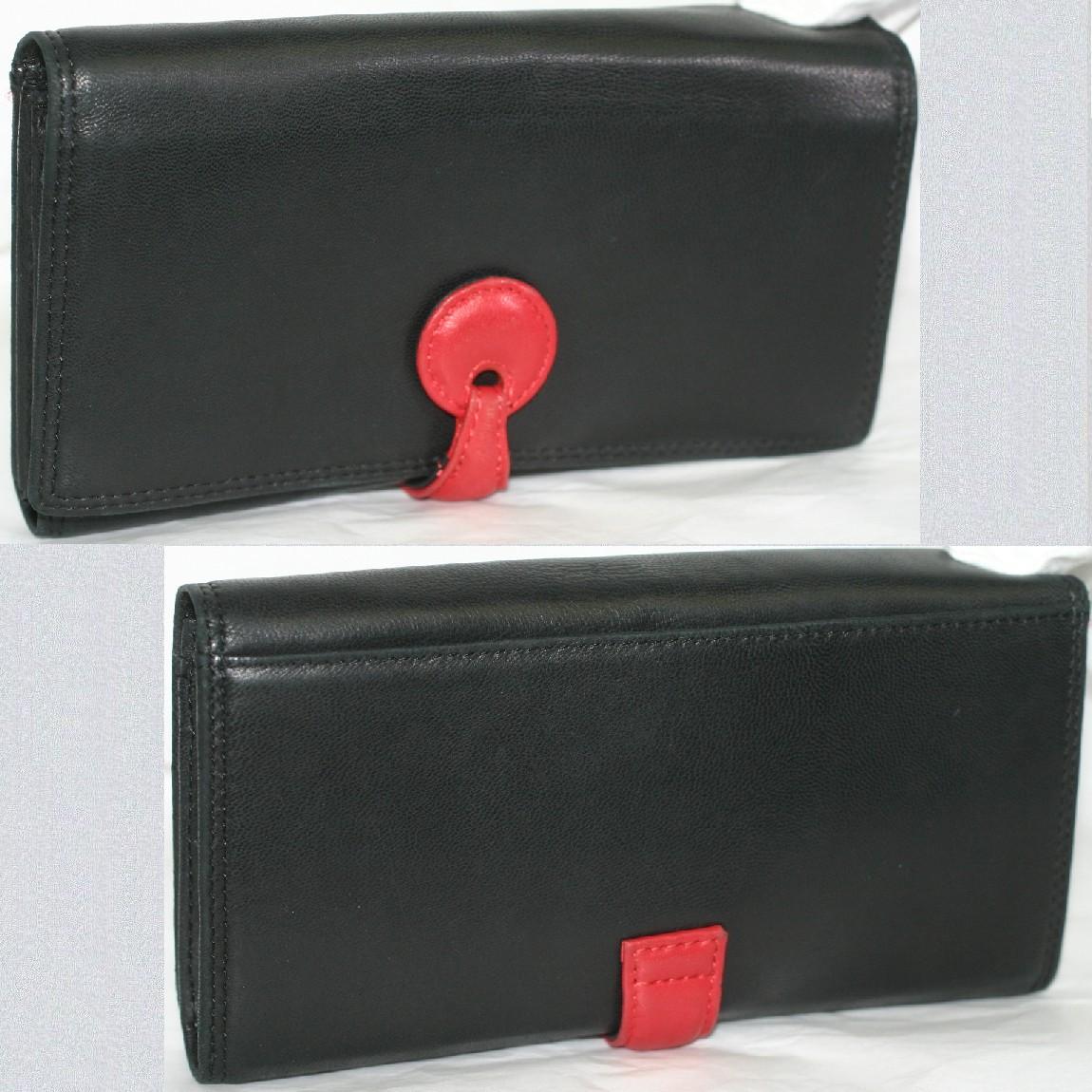 【中古】本物綺麗女性用黒いとても柔らかいナッパ素材19cmファスナー付き長財布カード用ポケット16個付き使いやすいです