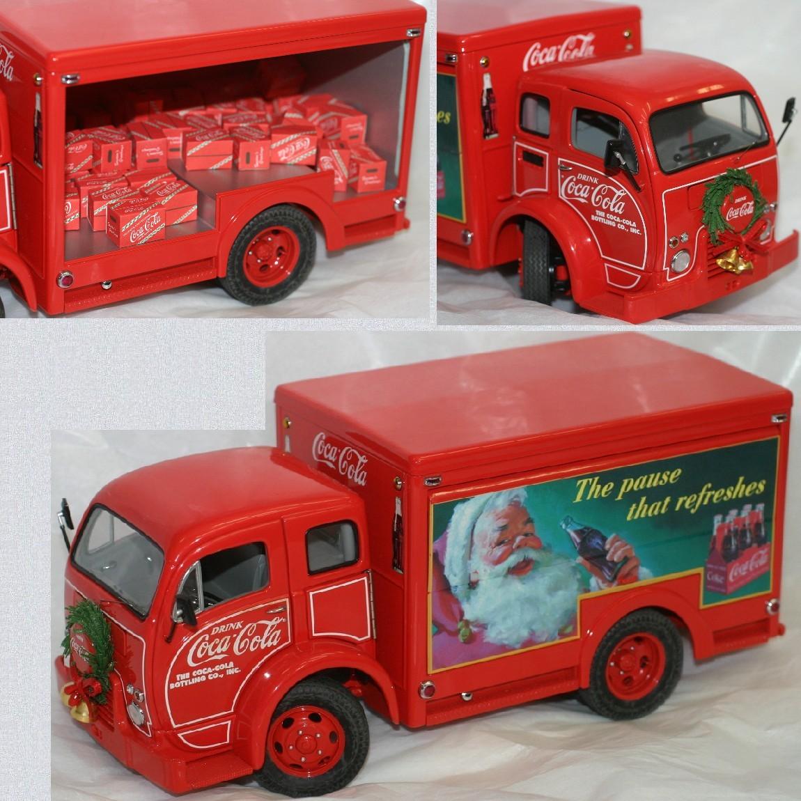 【中古】飾っていましたCoca-Colaコカコーラクリスマスバージョンのデリバリートラック沢山のフィギュアが入っていますサンタの絵柄